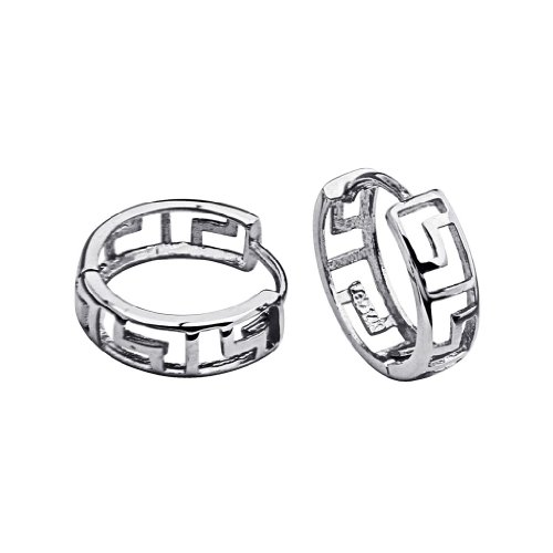 - 14k White Gold 4mm Thickness Greek Key Huggie Earrings (12 x 12 mm)