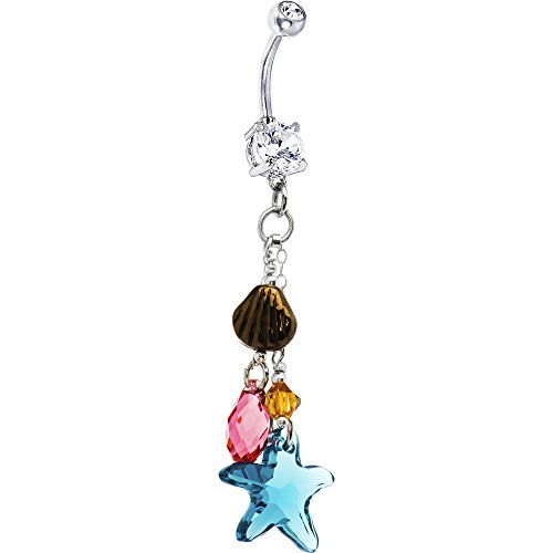 andcrafted Ocean Starfish Belly Ring Created with Swarovski Crystals ()