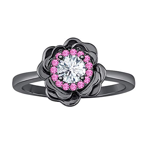 (tusakha Womens Fashion 14K Black Gold Over .925 Sterling Silver White & Pink Sapphire Cluster Flower Ring)