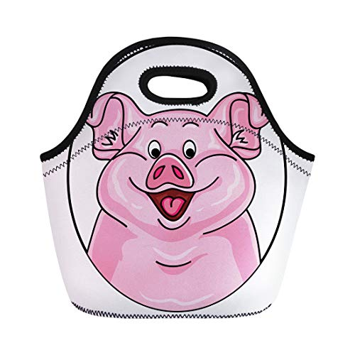 (Semtomn Neoprene Lunch Tote Bag Agriculture of Pink Pig Cartoon Looks Out From the Reusable Cooler Bags Insulated Thermal Picnic Handbag for Travel,School,Outdoors,Work)