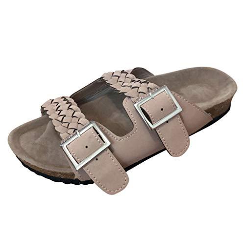 Tantisy ♣↭♣ Women's Comfort Double Buckle Indoor Outdoor Cork Sandal Comfortable Slide Classic Mocha-Suede Women's Sandal