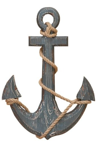 "Benzara 91620 Wood Anchor with Rope Nautical Decor, 18"" H/12 W, Aqua Blue"