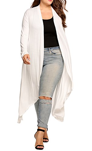 IN'VOLAND Women's Plus Szie Long Sleeve Waterfall Asymmetric Drape Open Long Maxi Cardigan,White,X-Large