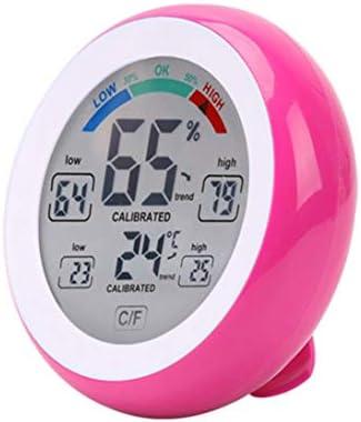 XINFULUK Digitales Thermometer Hygrometer Praktisches Temperaturmessgerät Feuchtigkeitsmessgerät Wanduhr Max. Min. Wert Trendanzeige C/F - Rot