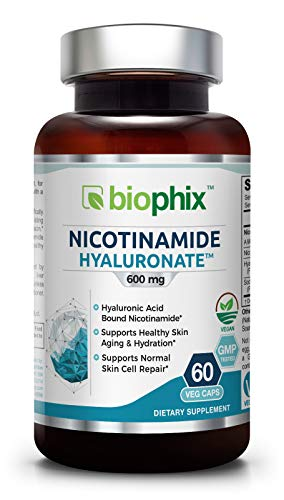 Nicotinamide Hyaluronate 600 mg 60 Vcaps - Natural Flush-Free | Gluten-Free Nicotinic Amide Niacin | Hyaluronic Acid | Supports Skin Health | Healthy Cell Repair Support