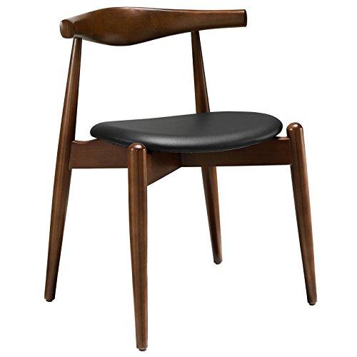 Modway Stalwart Dining Side Chair In Dark Walnut Black