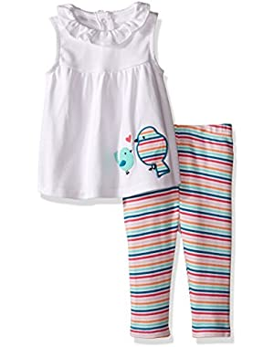 Baby Girls' Stripe Play Set with Graphic Birdie