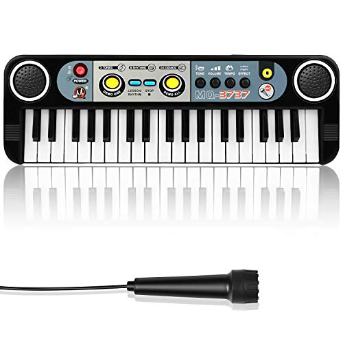 ZJTL Piano Toy Keyboard for Kids Gift Music Instruments with Microphone 37 Keys MQ-3737