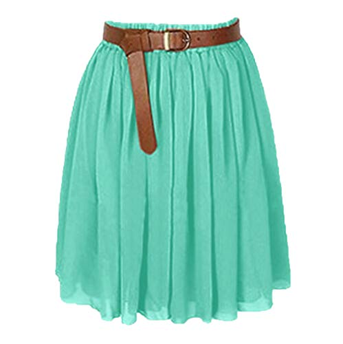 TOTOD Mini Skirts for Women, Fashion Girl Chiffon Short Dress Pleated Retro Elastic Waist Dancewear/Without Belt Green