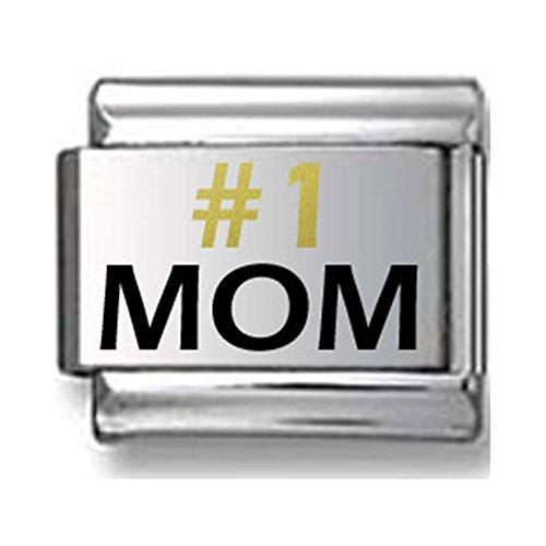 #1 MOM Gold and Black Laser Italian Charm V.1