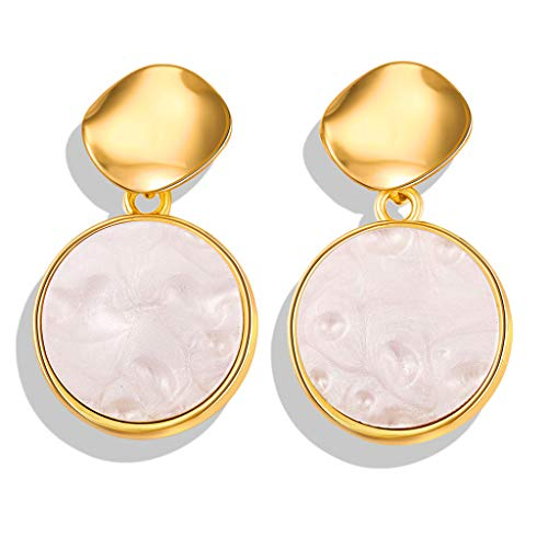 Best valentine's day gift!!!Kay Cowper Simple Metallic Gold Outer Ring Irregular Shape Love Acrylic Earrings Ladies ()