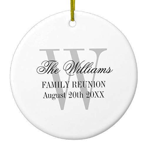 Lplpol Family Reunion Monogram Christmas Tree Personalize Ceramic Ornament Anniversary Souvenir Home -