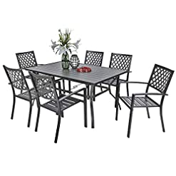 Garden and Outdoor PHI VILLA Outdoor Patio Dining Set of 7 with Metal 60″x38″ Rectangular Dining Table and Bistro Chairs – Black patio dining sets