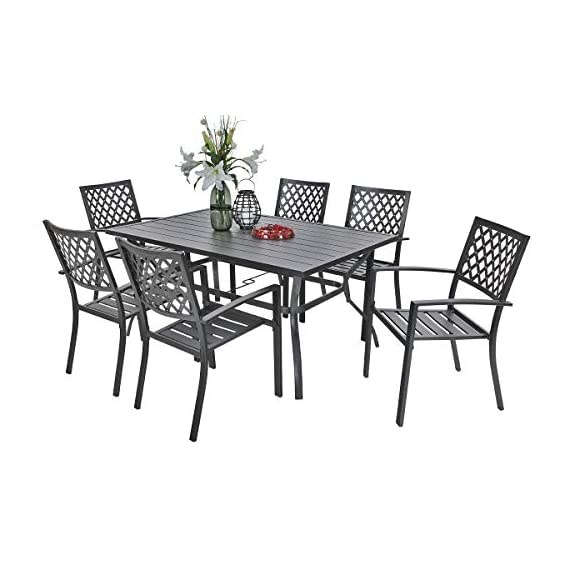 PHI VILLA Metal Outdoor Patio 60 inch Rectangular Dining Table and Chairs Set of 7- Black - Durable metal steel frame longevity with e-coating and use black high quality coating with gold spots.,rust resistant and weather resistant,bring you years of enjoymen; Stylish modern slate design with metal very sturdy, easy to assemble, and easily cleaned up with damp cloth and water; You can using the table as a buffet for the party or a delicious BBQ and family dinners, this table is designed to fit any kind of lifestyle. - patio-furniture, dining-sets-patio-funiture, patio - 41CSydBQQcL. SS570  -