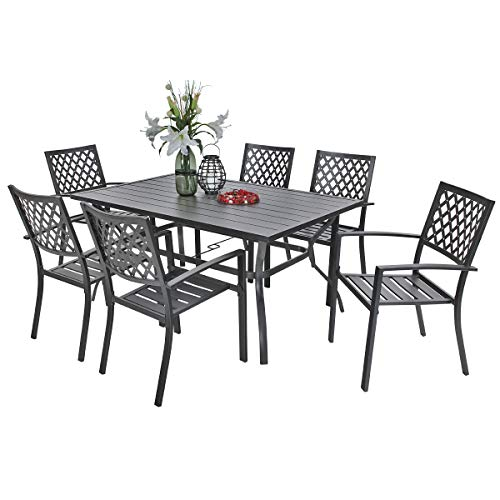 PHI VILLA Metal Outdoor Patio 60 inch Rectangular Dining Table and Chairs Set of 7- Black (Metal Patio Table Set)