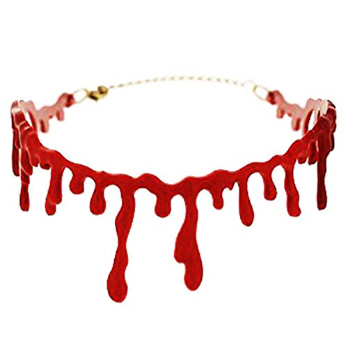 LONG7INES Halloween Blood Necklace, Throat Necklace Bleeding Red,