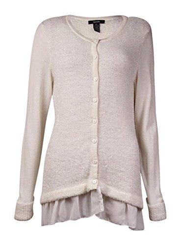 Alfani Womens Metallic Eyelash Cardigan Sweater Ivory L