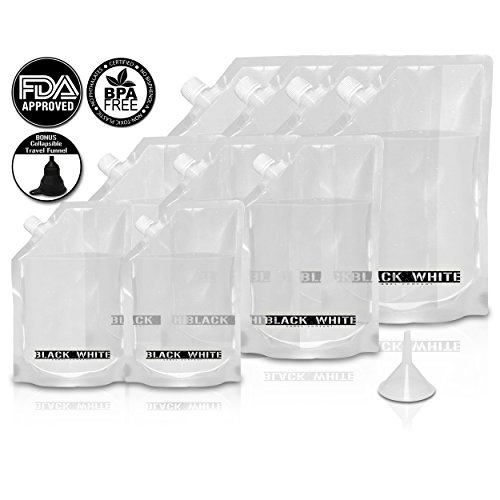 ((9) Black & White Label Premium Plastic Flasks - Liquor Rum Runner Flask Cruise Kit Sneak Alcohol Drink Wine Pouch Bag Set Heavy Duty Reusable Concealable Flasks For Booze & Cocktails 4x32oz+3x16oz+2x8oz + Funnel)