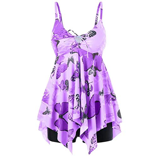 (TTINAF Women Swimdress Tankini Swimsuits, Butterfly Print Padded Swimwear with Boyshorts Two Piece Tank Dress (XL, Purple))