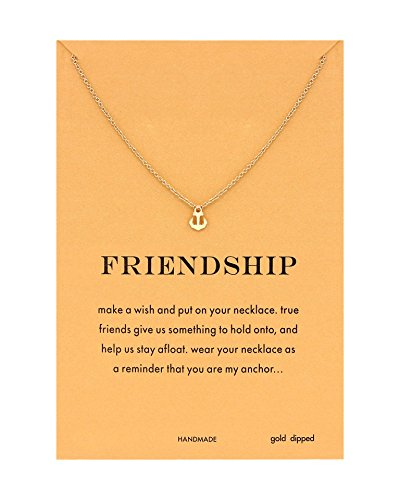 CYBERNY Women's Friendship Necklace Golden Anchor Pendant Necklace (Anchor Womens)