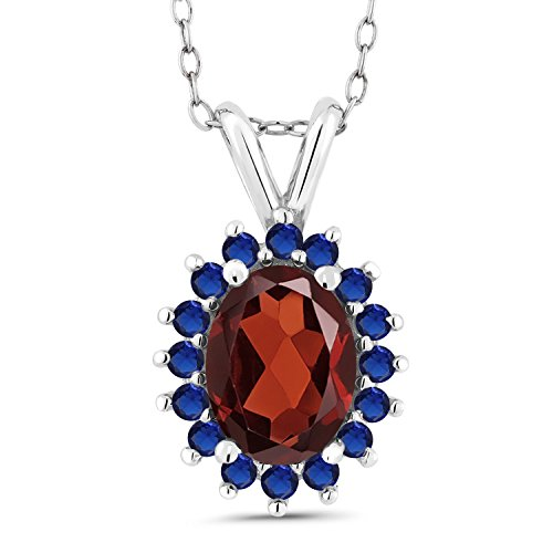 Gem Stone King 1.52 Ct Oval Red Garnet Blue Simulated Sapphire 14K White Gold Pendant