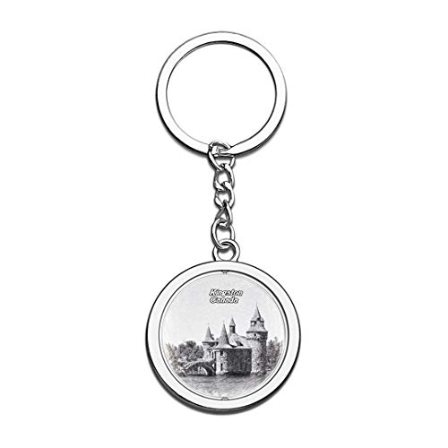 Canada Thousand Islands Kingston Sketch Keychain 3D Crystal Spinning Round Stainless Steel Keychains Travel City Souvenirs Key Chain Ring]()