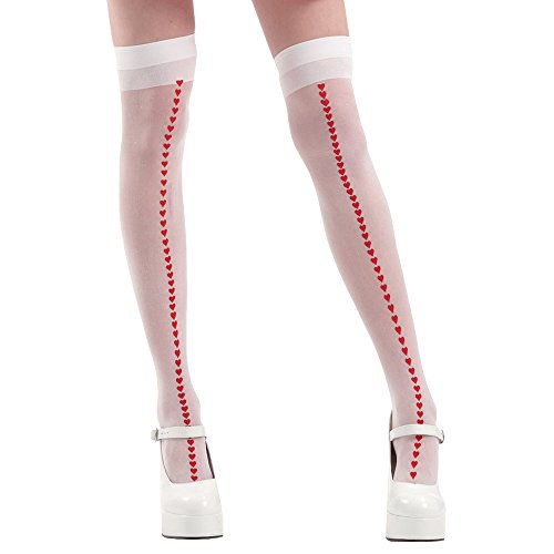 White with Red Hearts Thigh-High Halloween Adult Women's Cosplay Costume (Heart Thigh Highs)