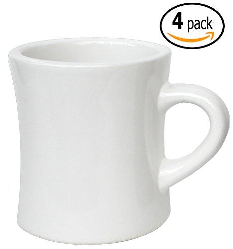 China Porcelain Mug (ITI Ceramic Diner Coffee Mugs with Pan Scraper, 10 Ounce (4-Pack, Pure White))