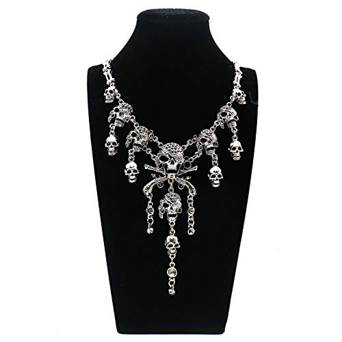 Antique Silver Multi-Level Pirate Skull Tassel Charm Necklace Collar Bib for Women Men]()