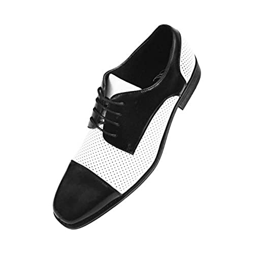 9d89774eddc durable modeling Amali Mens Two Tone Black Cap Toe with White ...