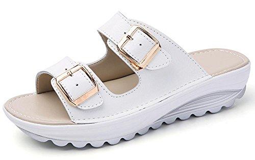 Doppel-Schnalle Sandalen schlüpfen flache Sandalen weibliche Pantoffel Strand white