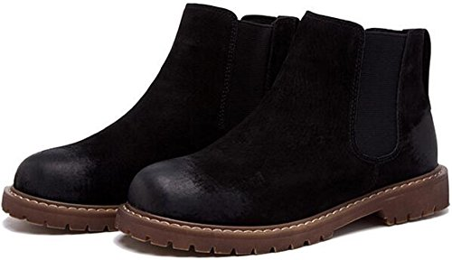 British Retro Leather PPXID Ankle Black Boots Chelsea Women's pqPv8