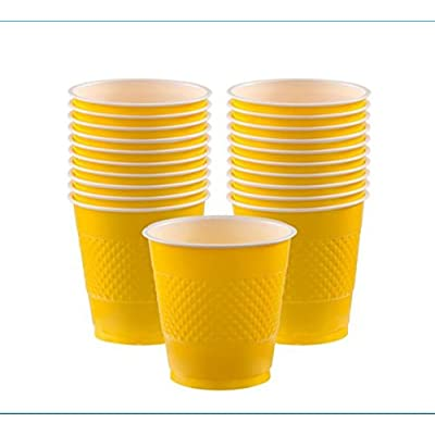 Sunshine Yellow Plastic Cups | 9 oz.| Pack of 20 | Party Supply: Kitchen & Dining