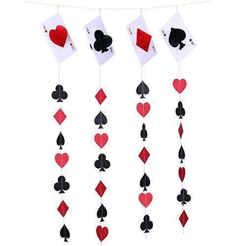WSSROGY Set 4 Playing Card Paper Garland Casino Paper Garland for Wedding Birthday Kids Bridal Baby Shower Backdrop Decoration