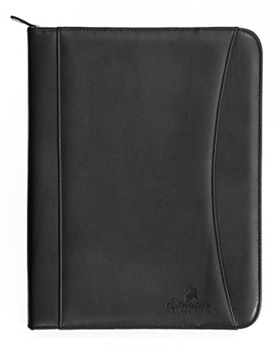 Professional Executive PU Leather Business Resume Portfolio Padfolio Case Organizer With iPad Mini or Tablet Sleeve Holder, Zippered Binder, Paper Pad, Card Holders, Document Folder - Black (Cd Padfolio)