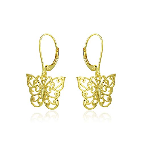 (Yellow Gold Flashed Sterling Silver Filigree Butterfly Leverback Dangle Drop)