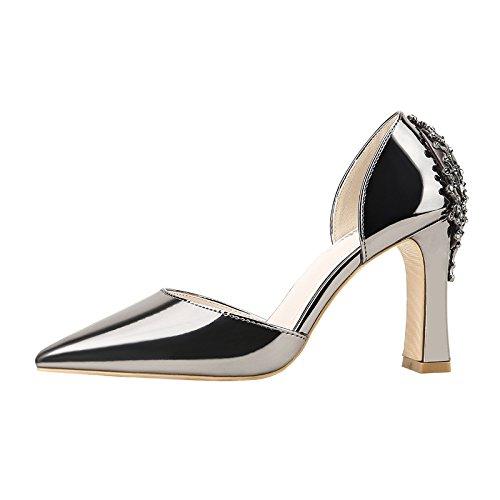 Xue Qiqi Tribunal Zapatos Sandalias Moda Zapatos de Baile Punta Plata de Alta Heel Shoes Mujeres con Pequeño y versátil Carrera Solo Zapatos Color