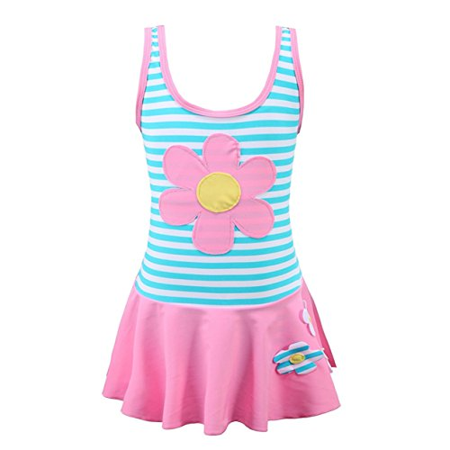 BQVIVYI Girls One Piece Swimsuit Sun Flower Princess Cover-UPS Skirts Bathing Suit Swimwear 3-9 Years (Pink, 4-5 Years) Cover Ups Children Sun Clothing