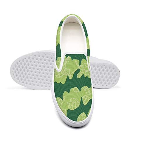 Green Watermelon Rind Women's Shoes Canvas Sneakers White Slipon Stylish Casual Sneakers Running Shoes