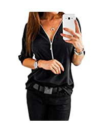 Doqcey Women's V Neck Long Sleeve Roll-up Sleeve Zip up Blouse Tops Tunic Shirt
