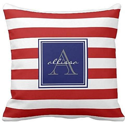 Red Monogrammed Awning Stripe Throw pillowcase Pillow shams case Cushion Cover 18*18