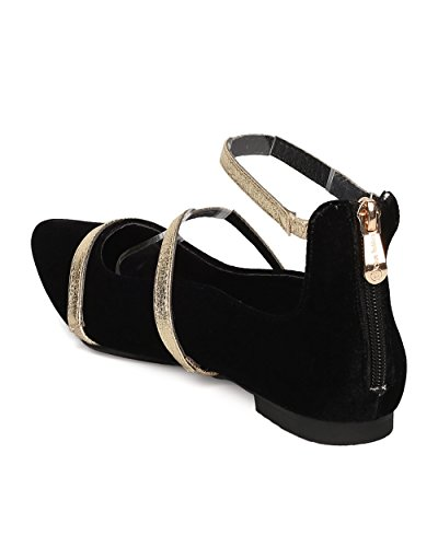 ROBBIN by CAPE Casual Flat Ankle GG10 Women Velvet Black Flat Everyday Ballet Dressy Strap Uwd47q