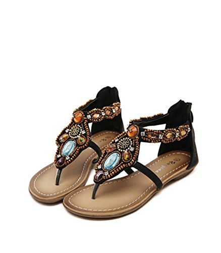 Bohemian-Stil Mit Flachen Schuhen Black