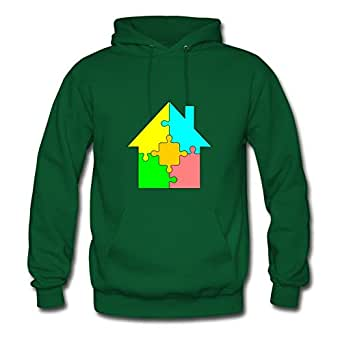 Style Personalityclothing Women House Puzzle Image Hoody (x-large,green)