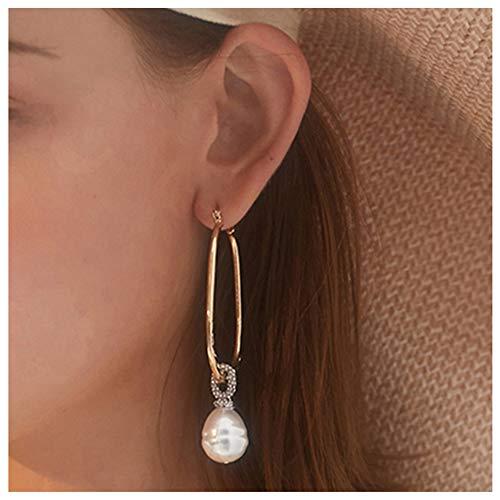 (Pearl Hoop Gold Earrings 18K Gold High Polished Pearl Dangle Hoop Earrings for Women Girls)