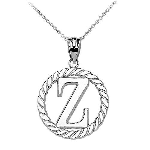 """Collier Femme Pendentif 14 Ct Or Blanc """"Z"""" Initiale À Corde Cercle (Livré avec une 45cm Chaîne)"""