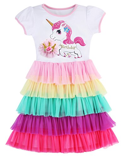 PrinceSasa Elegant Girls Clothing Unicorn Rainbow Party White Cupcake Short Sleeve Fall Dress for Princess Toddler Birthday Outfits Dress,Birthday Crown,4-5 Years(Size 120)