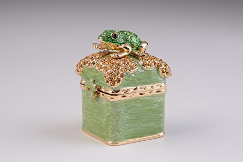 Green Box with Frog Trinket Box Decorated with Swarovski Crystals ()