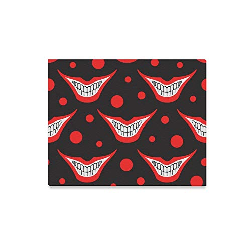 ENEVOTX Wall Art Painting Evil Clown Or Playing Card Joker Smile with Circle Prints On Canvas The Picture Landscape Pictures Oil for Home Modern Decoration Print Decor for Living Room ()
