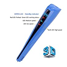 Kuman 100C Newest Version 3D Printing Pen With LCD Screen for Doodling Drawing 3D Pen Tool with 2* 1.75mm PLA Filament- As DIY Gift 3D Printers (Blue)
